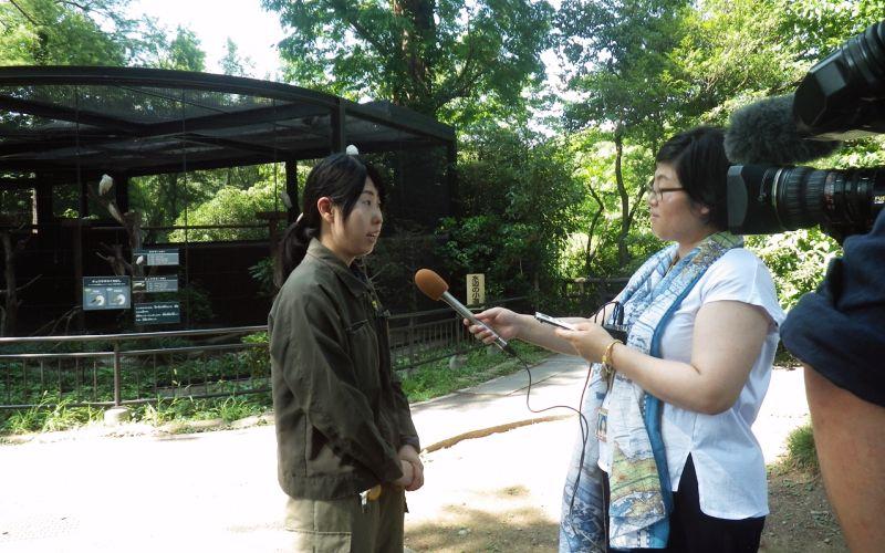 NHKのインタビューを受ける東條裕子さん