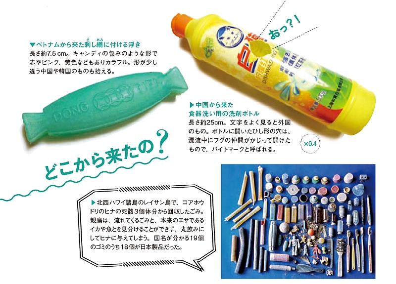 中国から来た食器洗い用の洗剤ボトル、アホウドリの死骸から回収したプラスチックごみの写真など