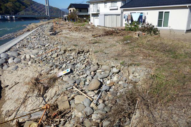 新幹線橋梁が見え、住宅が並ぶ川岸付近の写真、