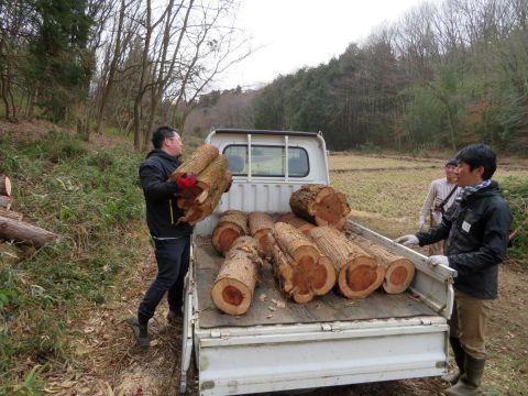 重そうな木材をトラックに載せる男性の写真