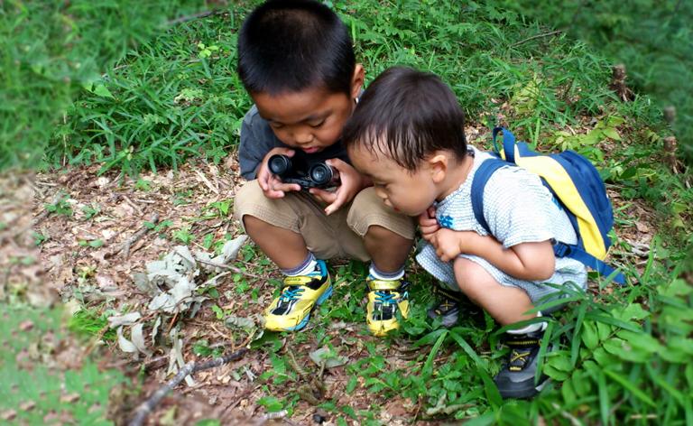 地面を覗き込んで観察する子どもの写真